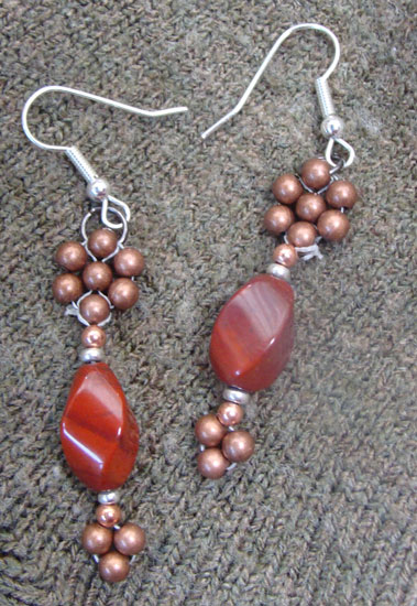 Red Stone and Copper Earrings